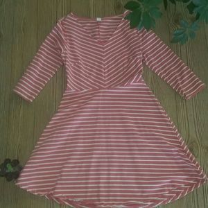 Old Navy pink,and cream striped dress